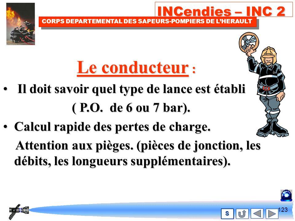 122 INCendies – INC 2 CORPS DEPARTEMENTAL DES SAPEURS-POMPIERS DE LHERAULT S Rôle du conducteur et du chef dagrès