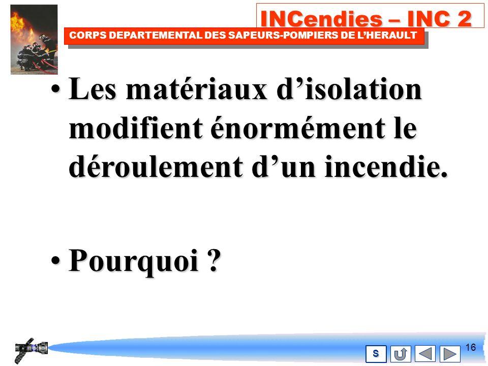 15 INCendies – INC 2 CORPS DEPARTEMENTAL DES SAPEURS-POMPIERS DE LHERAULT S Mais dabord quels sont ces nouveaux matériaux .