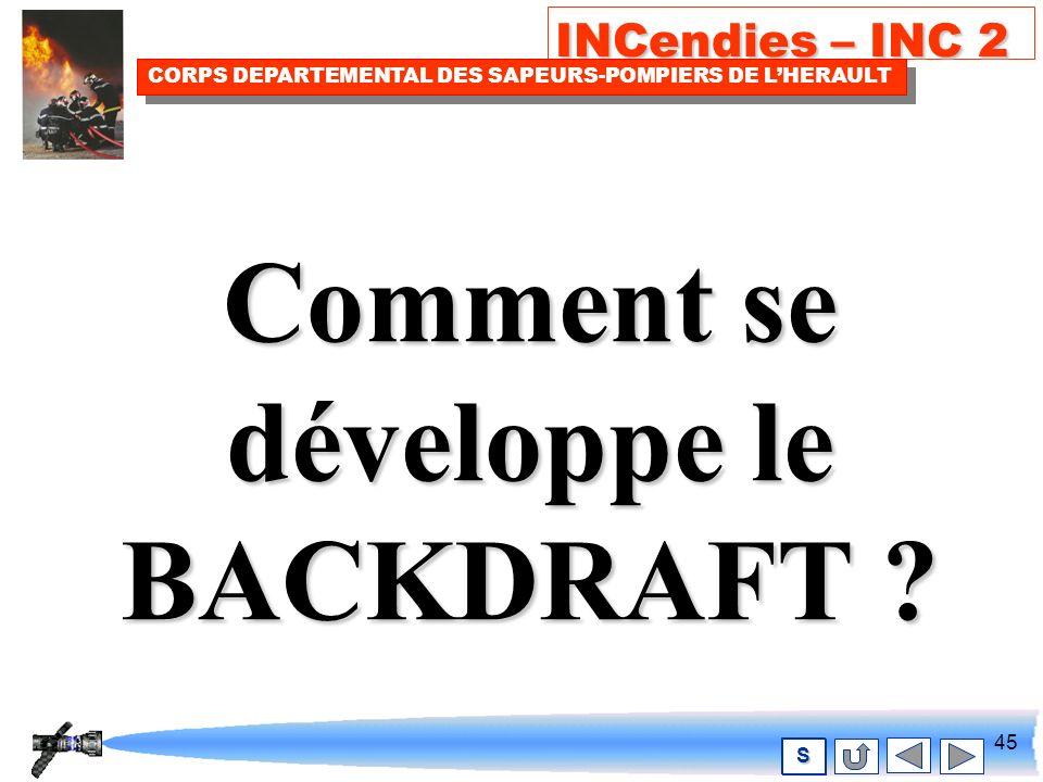 44 INCendies – INC 2 CORPS DEPARTEMENTAL DES SAPEURS-POMPIERS DE LHERAULT S Alors… VOUS RISQUEZ LE BACKDRAFT