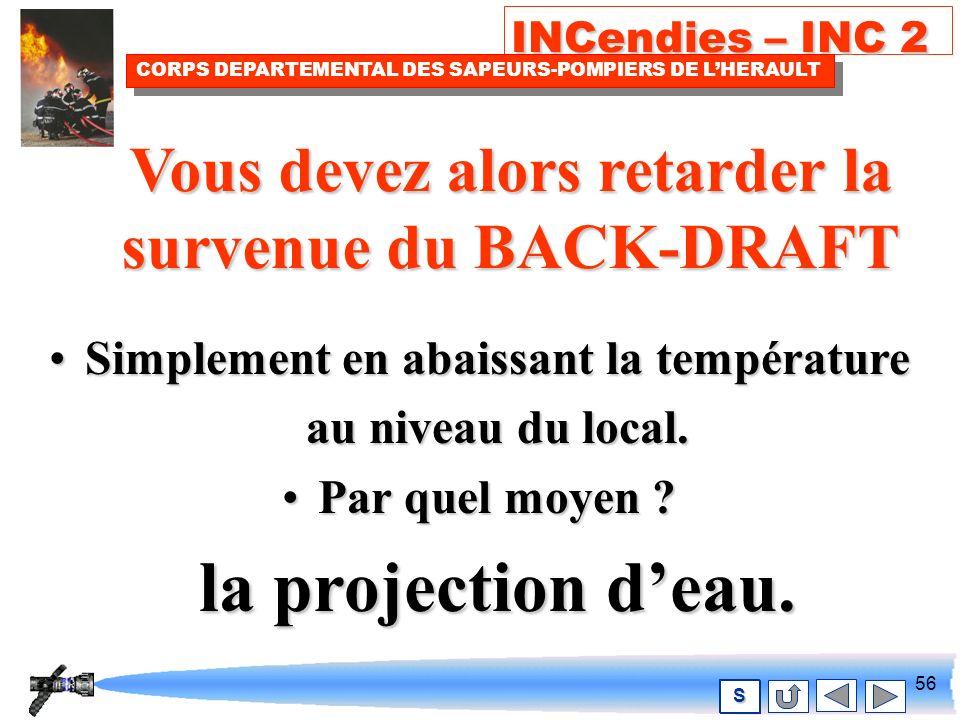 55 INCendies – INC 2 CORPS DEPARTEMENTAL DES SAPEURS-POMPIERS DE LHERAULT S Attitude défensive Ne pas pénétrer dans le local.Ne pas pénétrer dans le local.