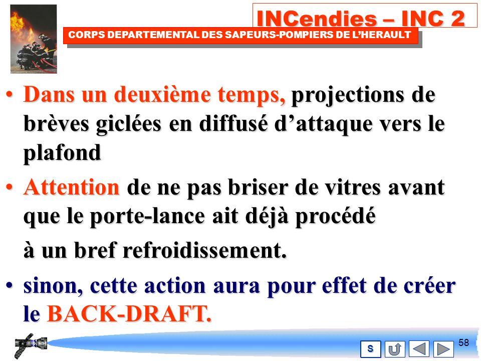 57 INCendies – INC 2 CORPS DEPARTEMENTAL DES SAPEURS-POMPIERS DE LHERAULT S La projection de leau à lintérieur du local.