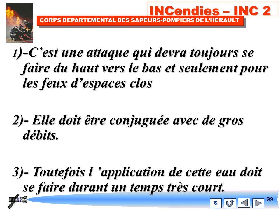 98 INCendies – INC 2 CORPS DEPARTEMENTAL DES SAPEURS-POMPIERS DE LHERAULT S Lattaque indirecte