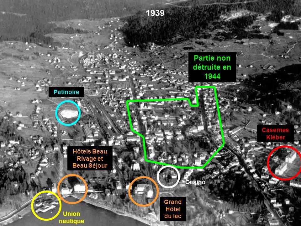 Stockage des matériaux de la démolition. Partie non détruite (où fut regroupée, à partir du 16 novembre 1944, toute la population de Gérardmer et de X