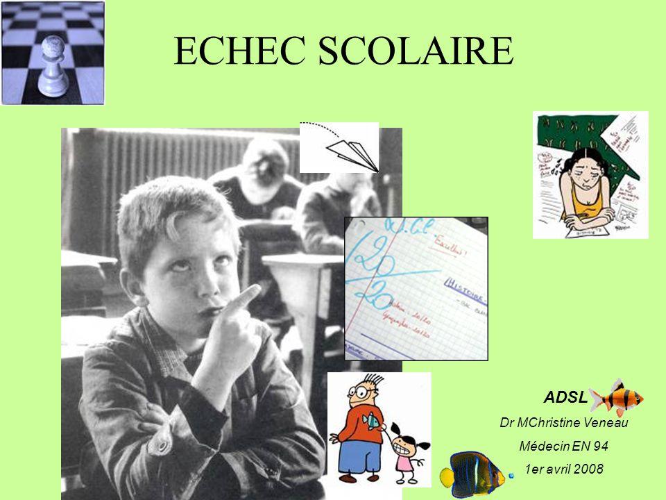 ECHEC SCOLAIRE ADSL Dr MChristine Veneau Médecin EN 94 1er avril 2008