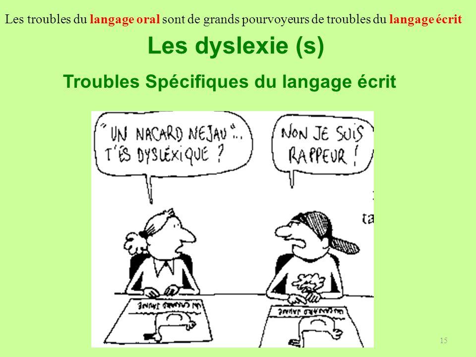 15 Les dyslexie (s) Troubles Spécifiques du langage écrit Les troubles du langage oral sont de grands pourvoyeurs de troubles du langage écrit