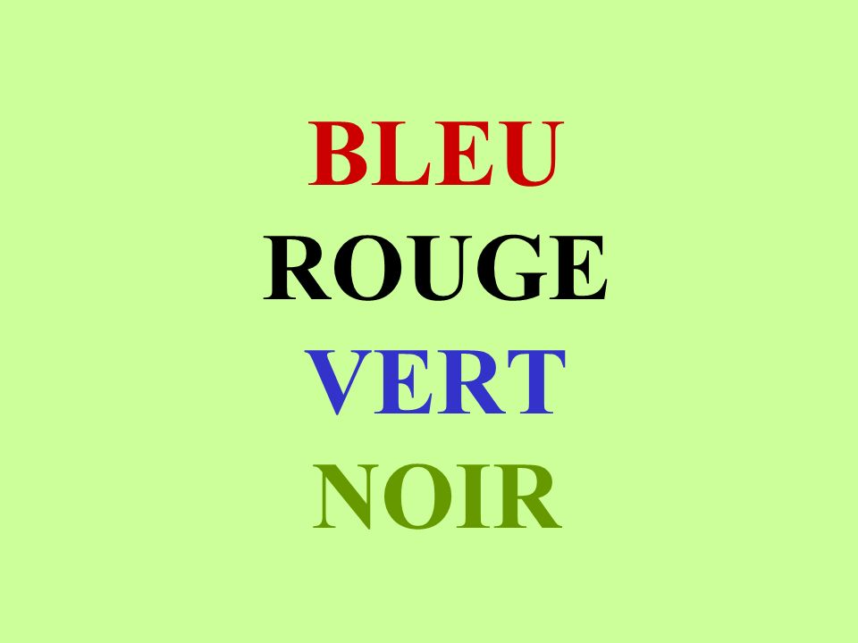 BLEU ROUGE VERT NOIR