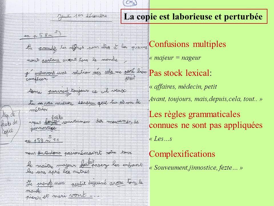 La copie est laborieuse et perturbée Confusions multiples « majeur = nageur Pas stock lexical: « affaires, médecin, petit Avant, toujours, mais,depuis