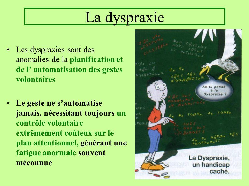 La dyspraxie Les dyspraxies sont des anomalies de la planification et de l automatisation des gestes volontaires Le geste ne sautomatise jamais, néces