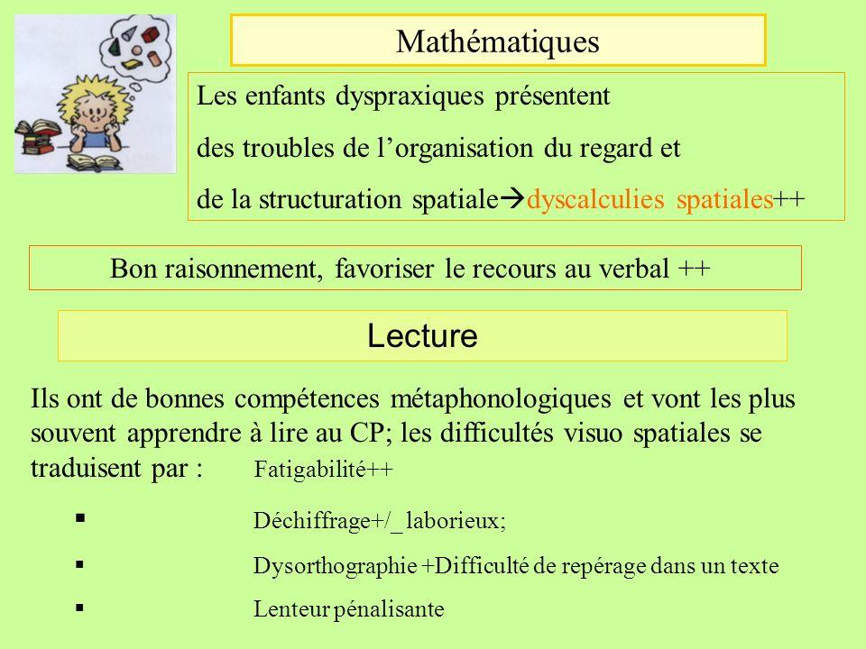 Mathématiques Les enfants dyspraxiques présentent des troubles de lorganisation du regard et de la structuration spatiale dyscalculies spatiales++ Bon