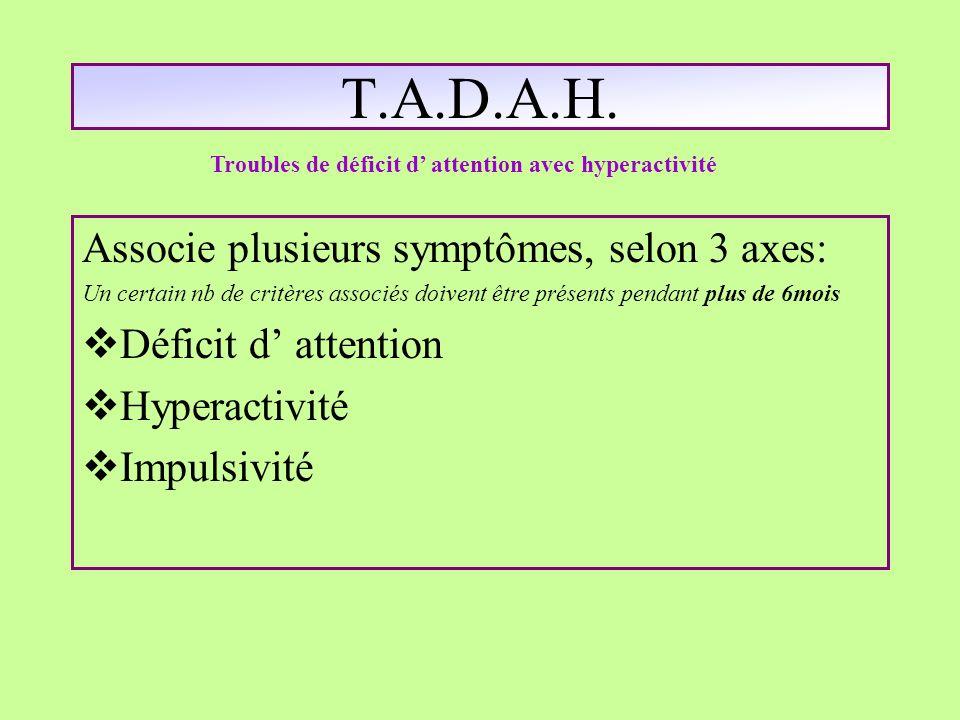 T.A.D.A.H. Associe plusieurs symptômes, selon 3 axes: Un certain nb de critères associés doivent être présents pendant plus de 6mois Déficit d attenti