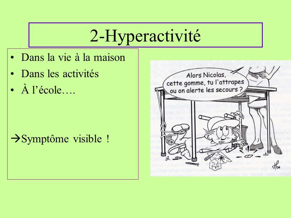 2-Hyperactivité Dans la vie à la maison Dans les activités À lécole…. Symptôme visible !
