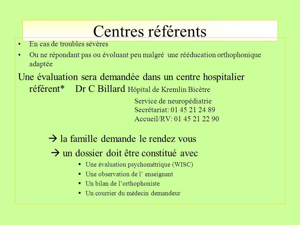 Centres référents En cas de troubles sévères Ou ne répondant pas ou évoluant peu malgré une rééducation orthophonique adaptée Une évaluation sera dema