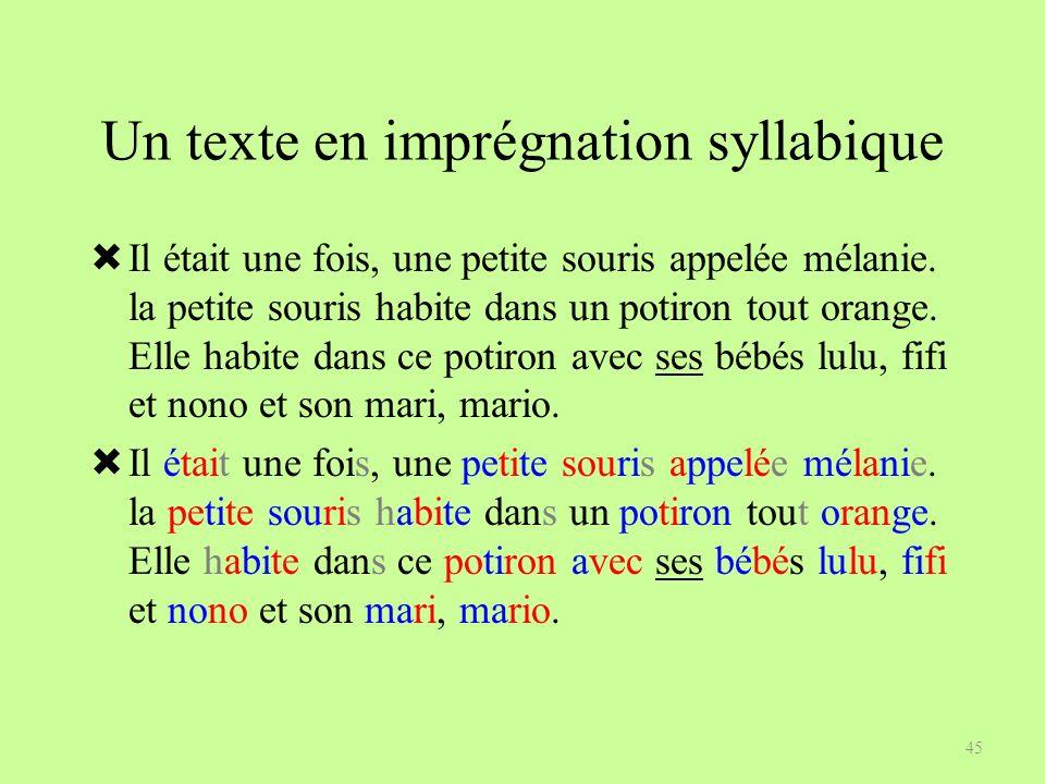 Un texte en imprégnation syllabique Il était une fois, une petite souris appelée mélanie. la petite souris habite dans un potiron tout orange. Elle ha