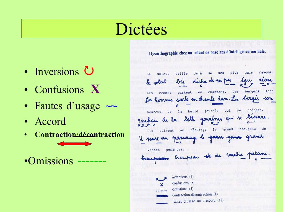 Dictées Inversions Confusions X Fautes dusage ~~ Accord Contraction/décontraction Omissions -------