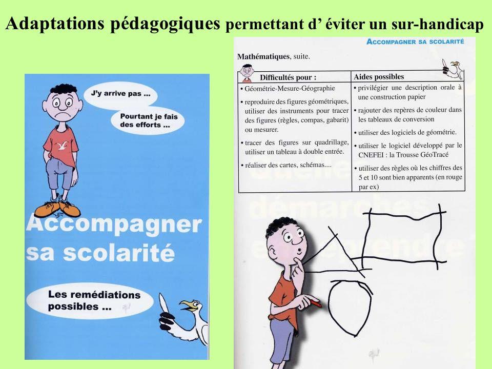 Adaptations pédagogiques permettant d éviter un sur-handicap
