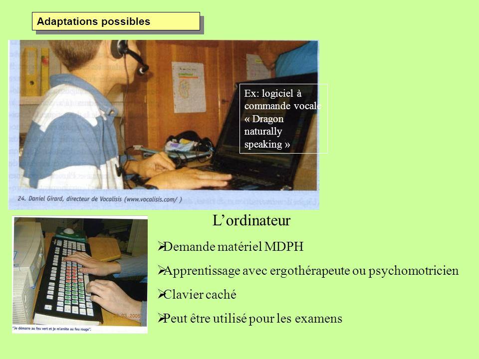 Adaptations possibles Ex: logiciel à commande vocale « Dragon naturally speaking » Lordinateur Demande matériel MDPH Apprentissage avec ergothérapeute