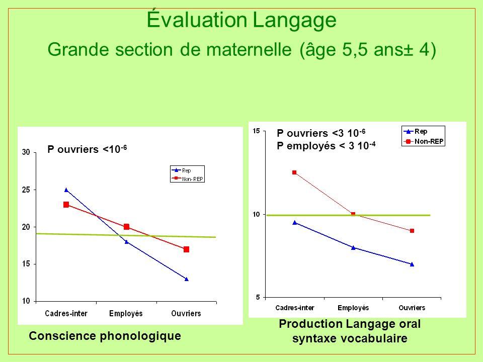 Évaluation Langage Grande section de maternelle (âge 5,5 ans± 4) Production Langage oral syntaxe vocabulaire P ouvriers <3 10 -6 P employés < 3 10 -4