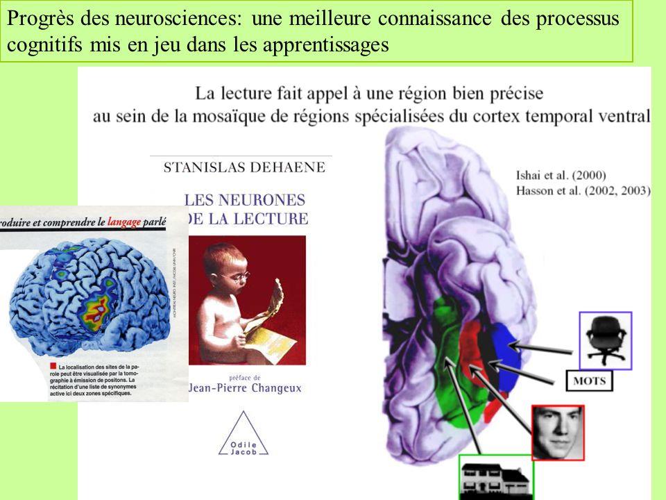 Progrès des neurosciences: une meilleure connaissance des processus cognitifs mis en jeu dans les apprentissages