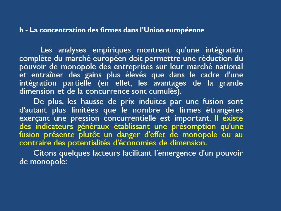 b - La concentration des firmes dans l'Union européenne Les analyses empiriques montrent qu'une intégration complète du marché européen doit permettre