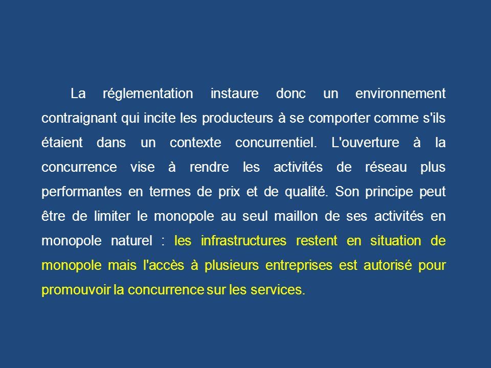 La réglementation instaure donc un environnement contraignant qui incite les producteurs à se comporter comme s'ils étaient dans un contexte concurren