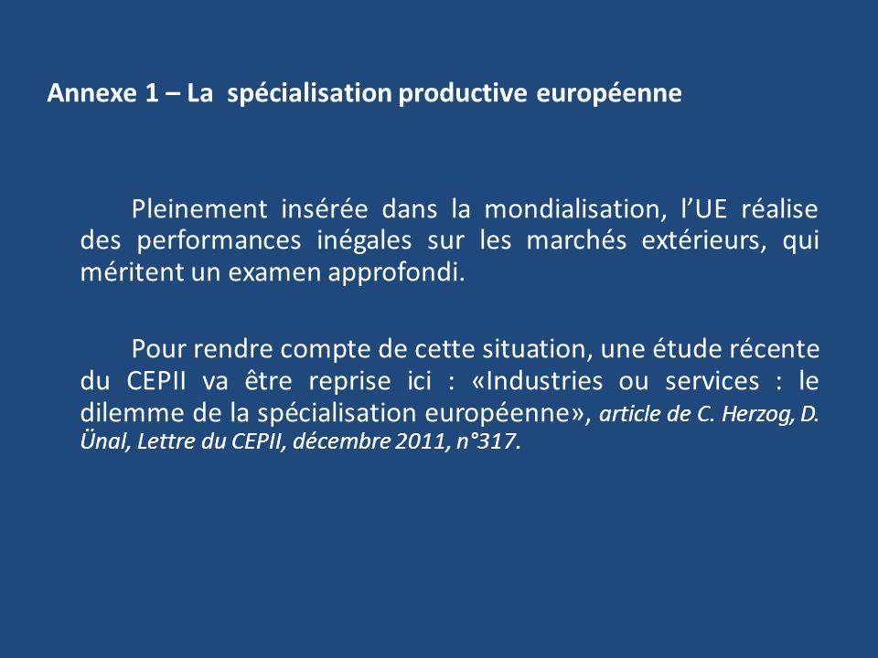 Annexe 1 – La spécialisation productive européenne Pleinement insérée dans la mondialisation, lUE réalise des performances inégales sur les marchés ex