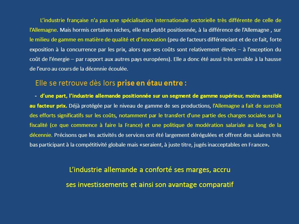 Lindustrie française na pas une spécialisation internationale sectorielle très différente de celle de lAllemagne. Mais hormis certaines niches, elle e