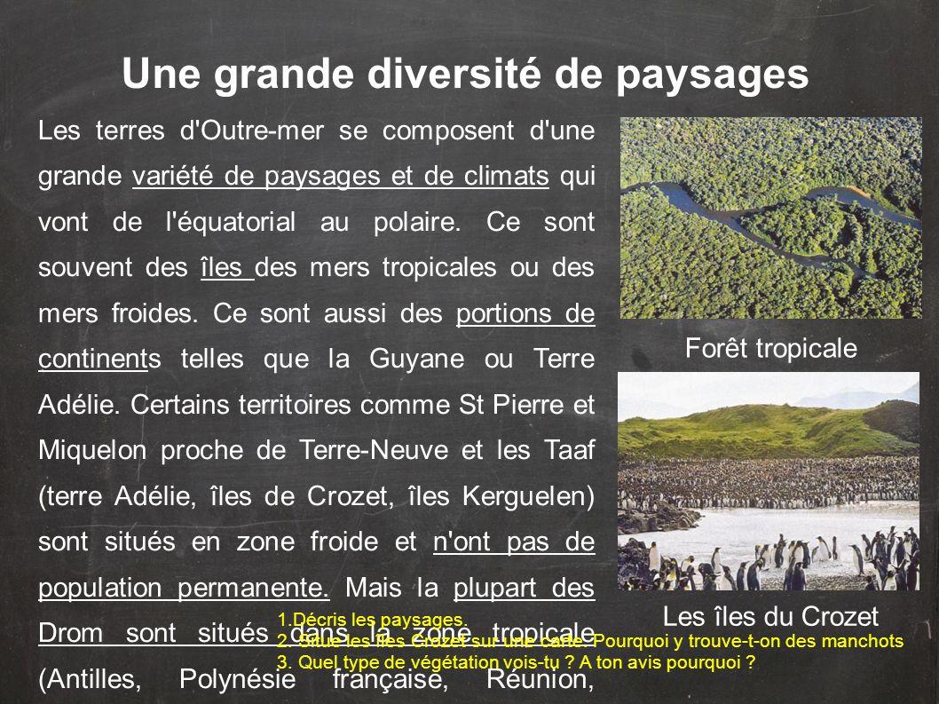 Une grande diversité de paysages Les terres d'Outre-mer se composent d'une grande variété de paysages et de climats qui vont de l'équatorial au polair