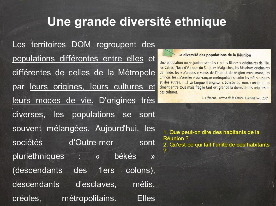 Une grande diversité ethnique Les territoires DOM regroupent des populations différentes entre elles et différentes de celles de la Métropole par leurs origines, leurs cultures et leurs modes de vie.