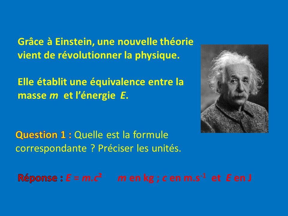 Grâce à Einstein, une nouvelle théorie vient de révolutionner la physique. Elle établit une équivalence entre la masse m et lénergie E.