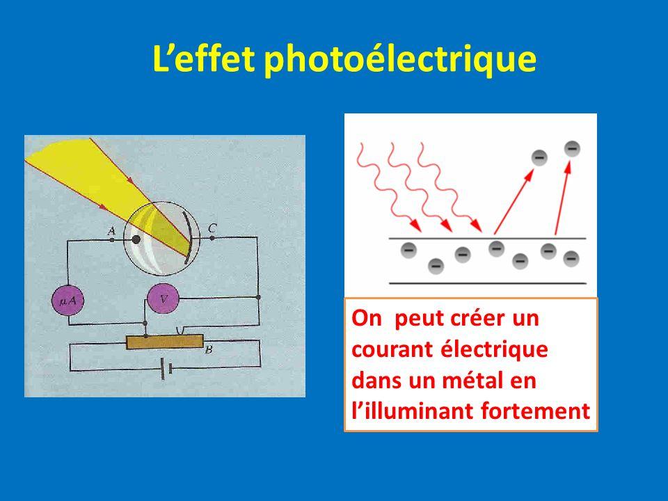 Leffet photoélectrique On peut créer un courant électrique dans un métal en lilluminant fortement