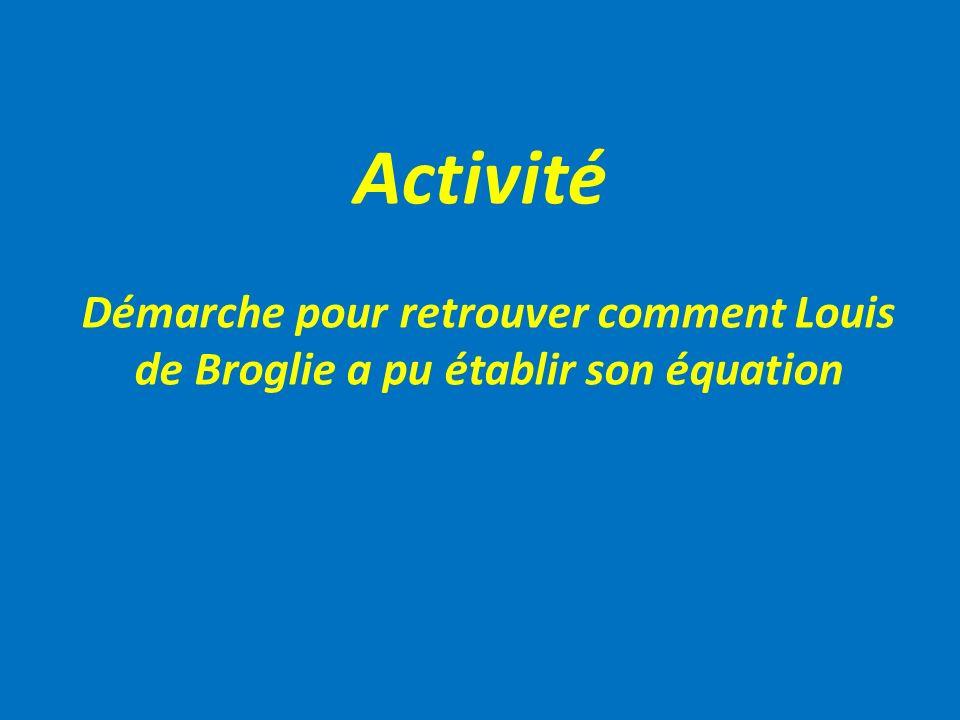 Activité Démarche pour retrouver comment Louis de Broglie a pu établir son équation