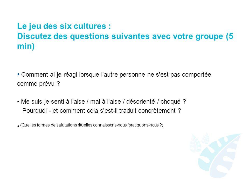 Le jeu des six cultures : Discutez des questions suivantes avec votre groupe (5 min) Comment ai-je réagi lorsque l autre personne ne s est pas comportée comme prévu .