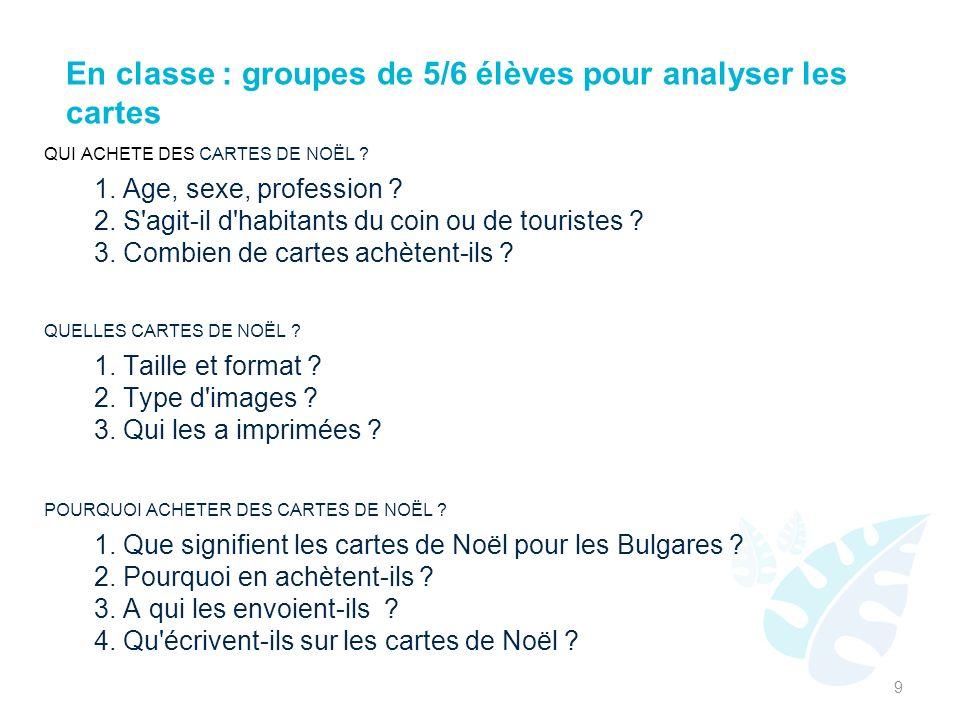 En classe : groupes de 5/6 élèves pour analyser les cartes QUI ACHETE DES CARTES DE NOËL .