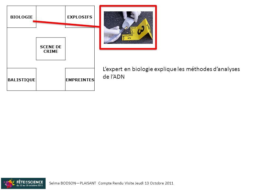 Selma BODSONPLAISANT Compte Rendu Visite Jeudi 13 Octobre 2011 BIOLOGIE EXPLOSIFS SCENE DE CRIME BALISTIQUE EMPREINTES