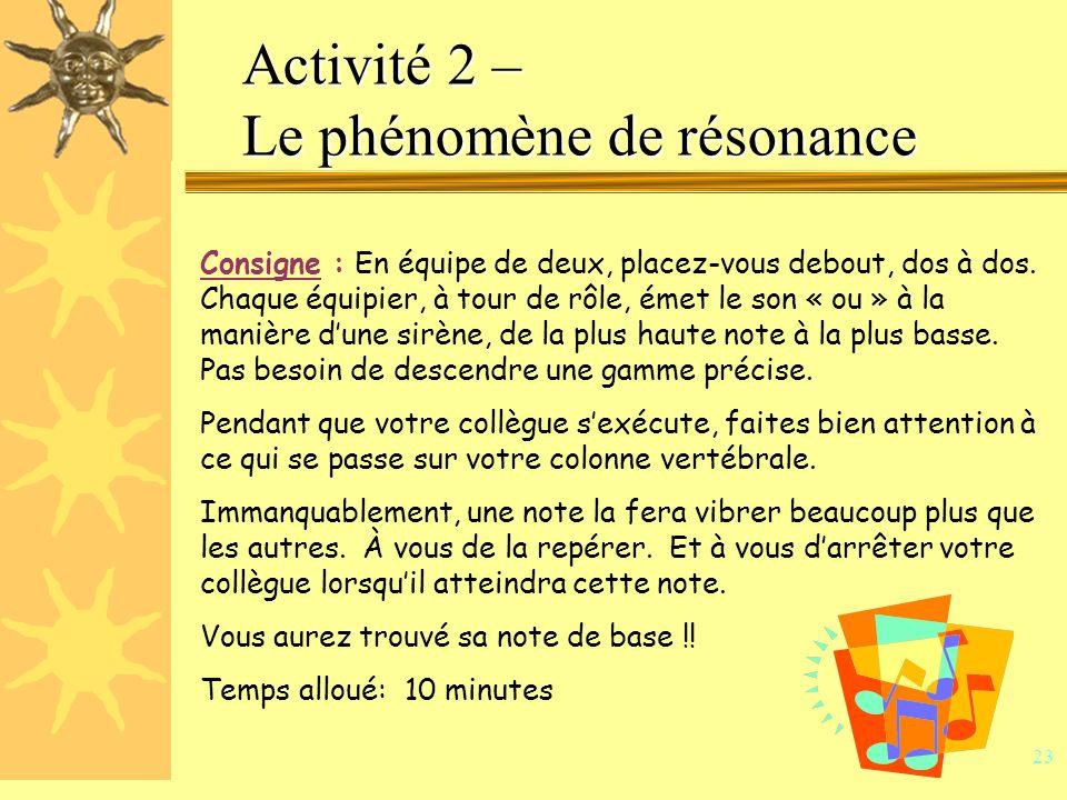 22 Activité 2 – Le phénomène de résonance Intention : permettre aux participants de découvrir leur note de résonance.