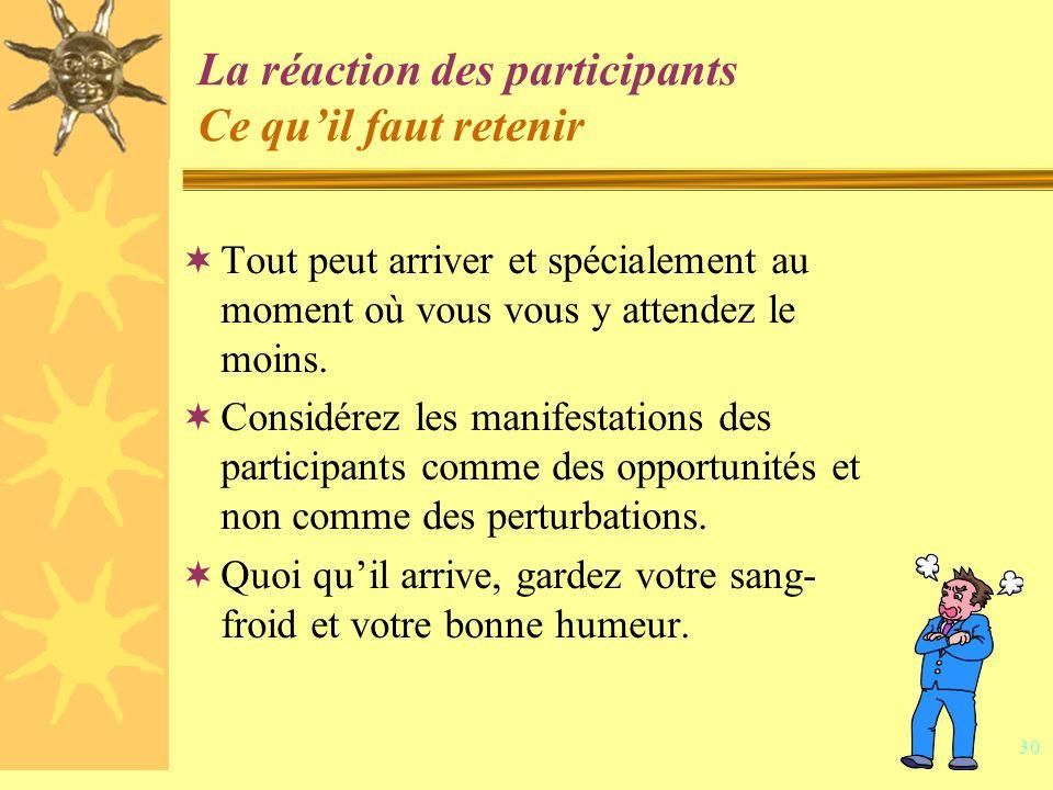 29 Activité 3 – La réaction des participants Intention : Découvrir de nouveaux trucs pratiques pour réagir aux situations difficiles en cours danimation.