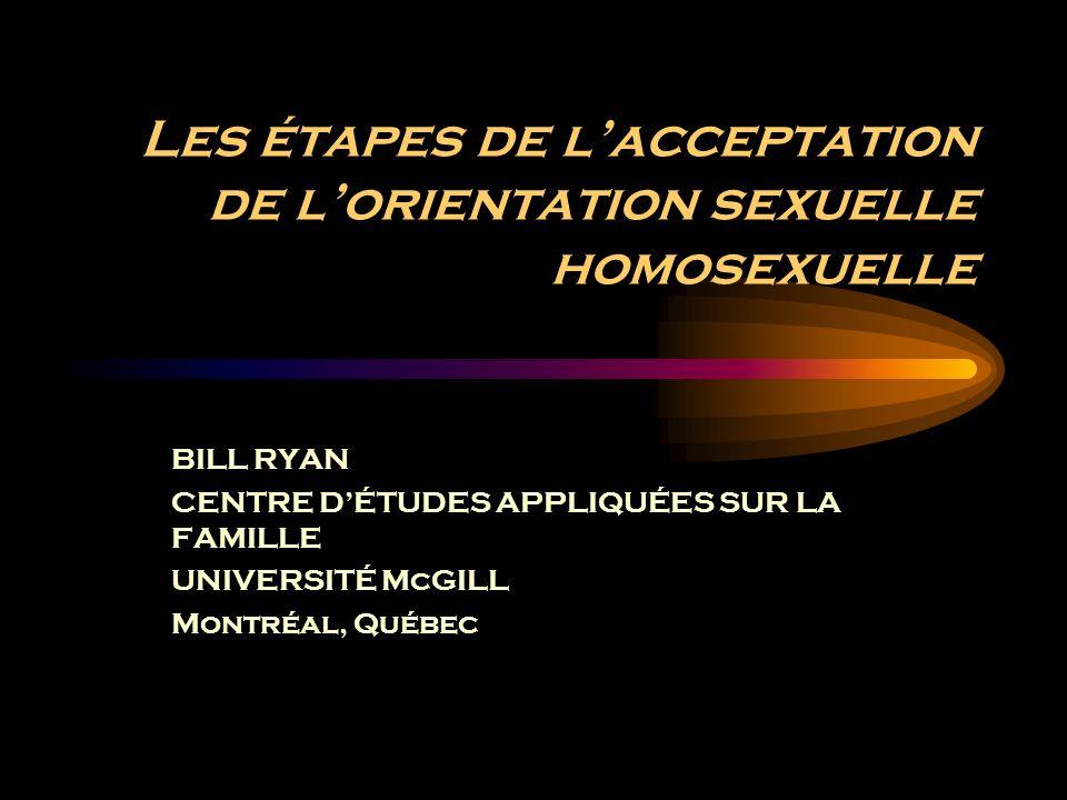 Les étapes de lacceptation de lorientation sexuelle homosexuelle BILL RYAN CENTRE DÉTUDES APPLIQUÉES SUR LA FAMILLE UNIVERSITÉ McGILL Montréal, Québec