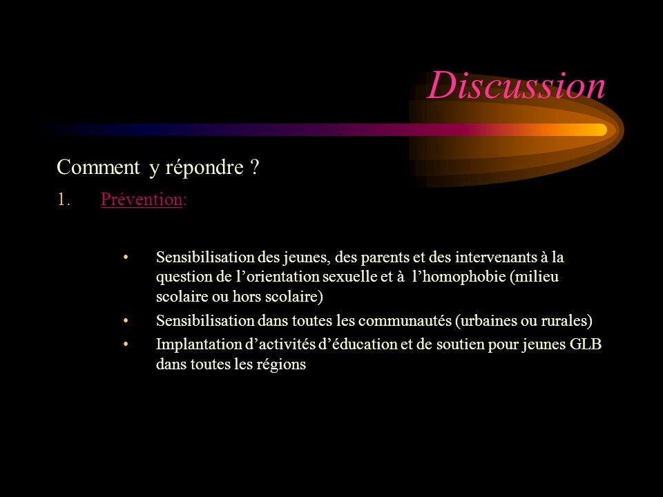 Discussion Comment y répondre .