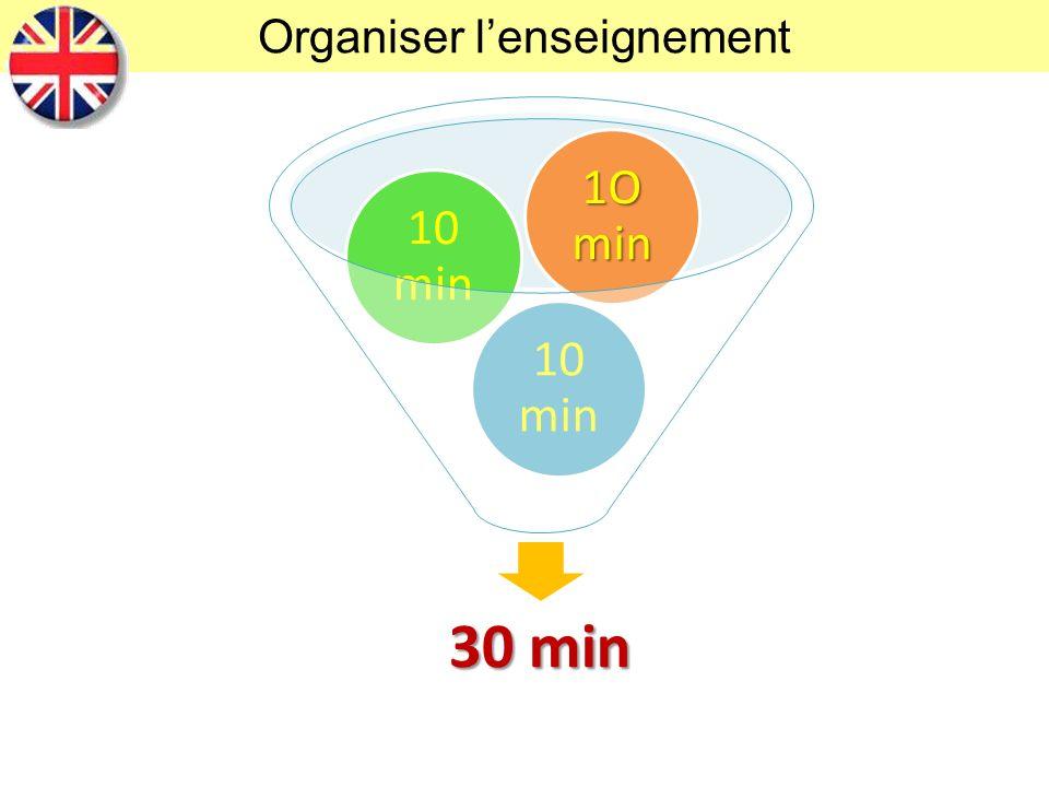 Organiser lenseignement 30 min 10 min 1O min
