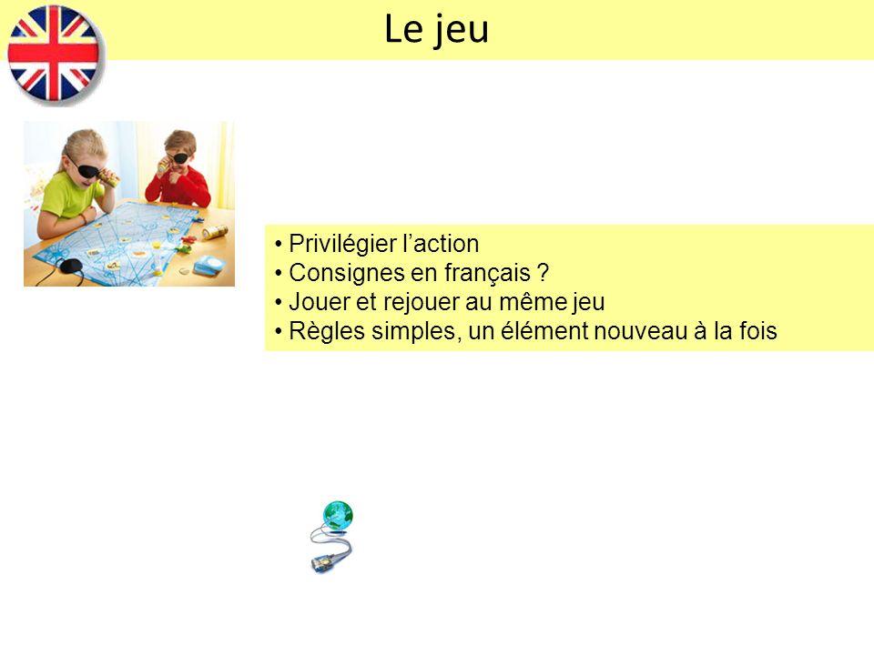 Le jeu Privilégier laction Consignes en français ? Jouer et rejouer au même jeu Règles simples, un élément nouveau à la fois