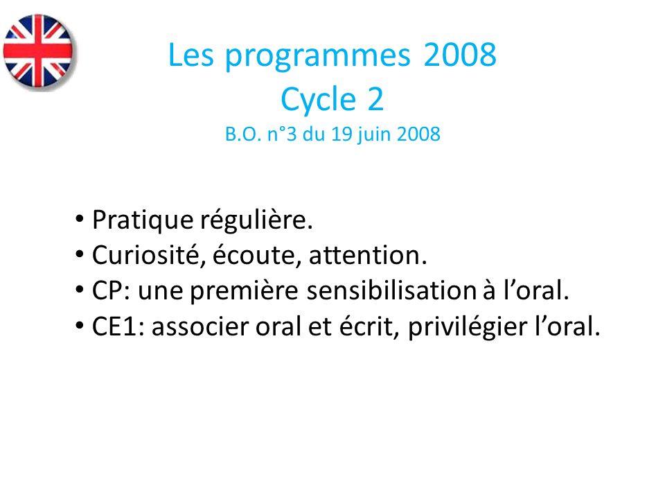 Acquérir les compétences niveau A1 Priorité aux activités orales de compréhension et dexpression Enrichir le vocabulaire En grammaire : utiliser formes élémentaires Connaître les modes de vie du pays concerné Les programmes 2008 Cycle 3 B.O.