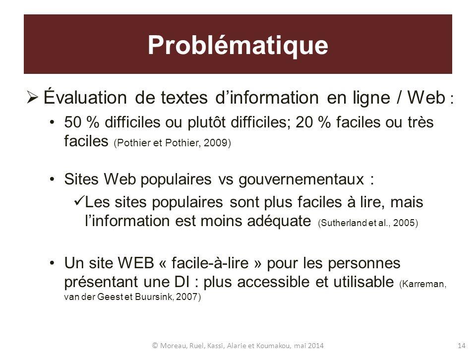 Problématique Évaluation de textes dinformation en ligne / Web : 50 % difficiles ou plutôt difficiles; 20 % faciles ou très faciles (Pothier et Pothie