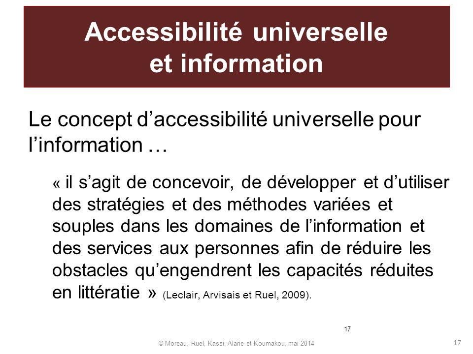 17 Accessibilité universelle et information Le concept daccessibilité universelle pour linformation … « il sagit de concevoir, de développer et dutili