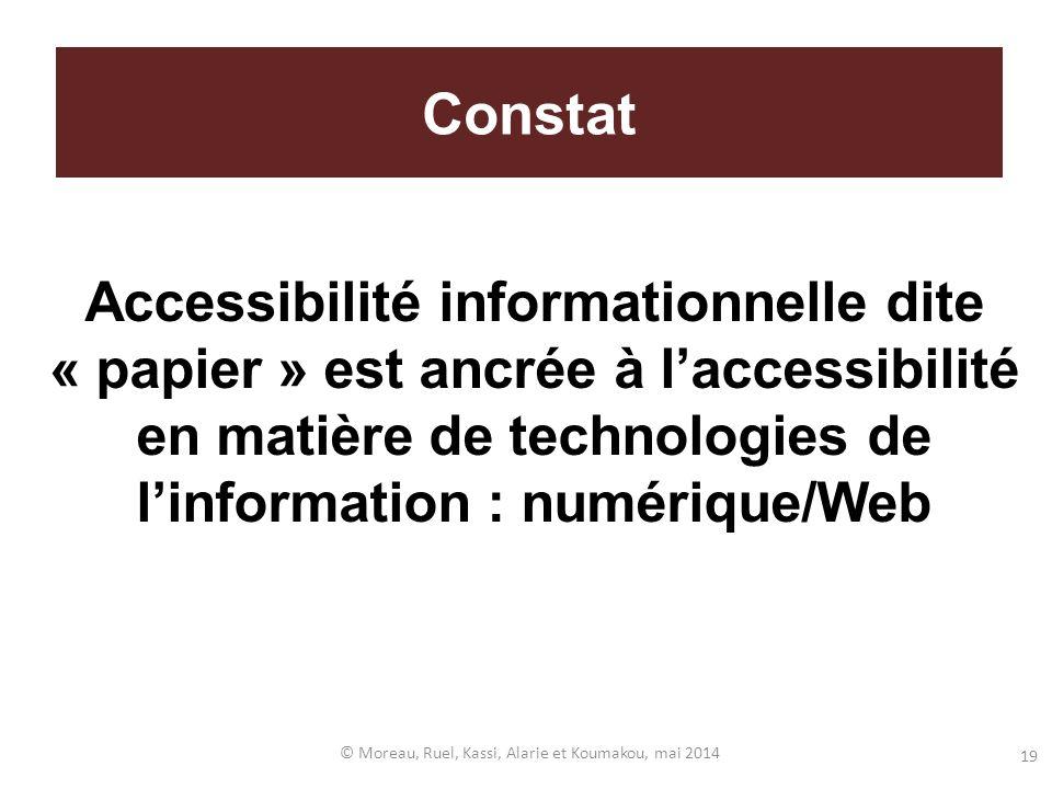 Accessibilité informationnelle dite « papier » est ancrée à laccessibilité en matière de technologies de linformation : numérique/Web © Moreau, Ruel,