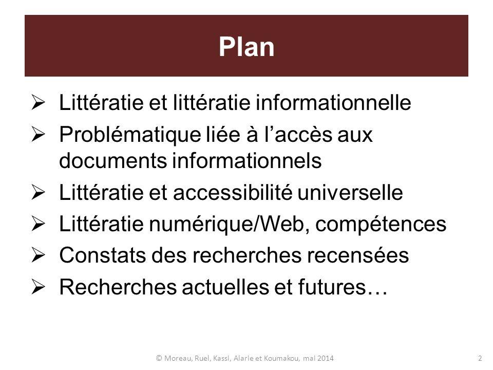 Plan Littératie et littératie informationnelle Problématique liée à laccès aux documents informationnels Littératie et accessibilité universelle Litté