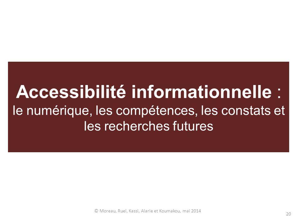 Accessibilité informationnelle : le numérique, les compétences, les constats et les recherches futures © Moreau, Ruel, Kassi, Alarie et Koumakou, mai