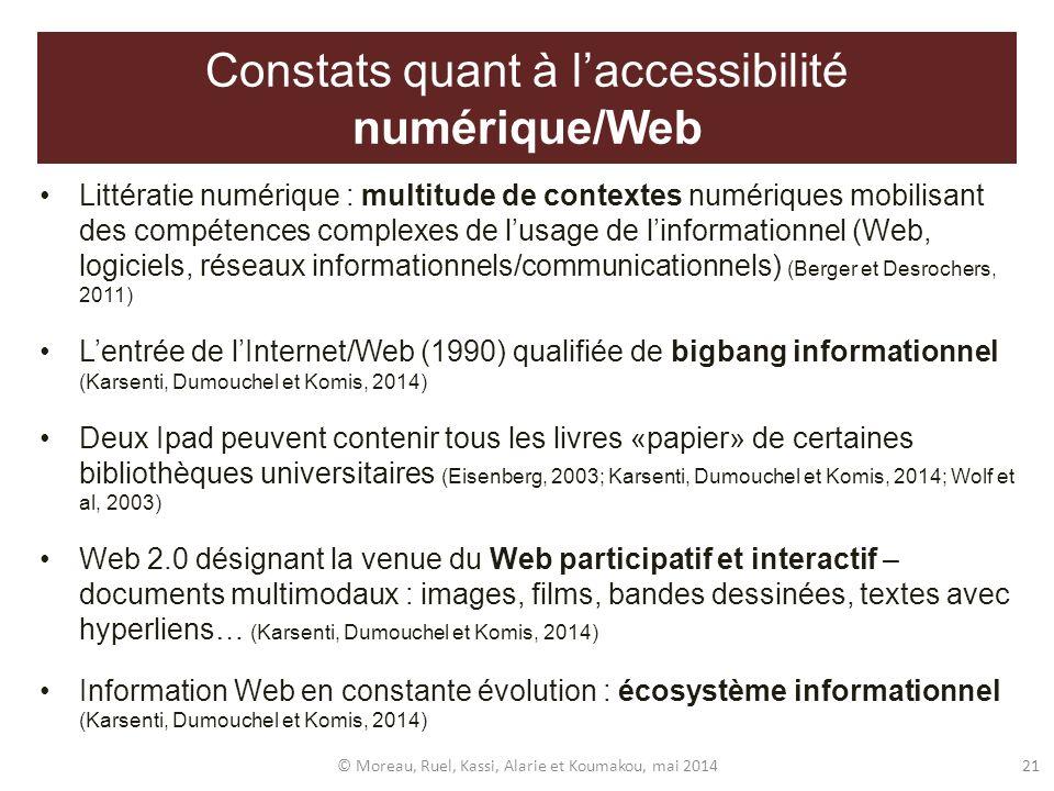 Constats quant à laccessibilité numérique/Web Littératie numérique : multitude de contextes numériques mobilisant des compétences complexes de lusage