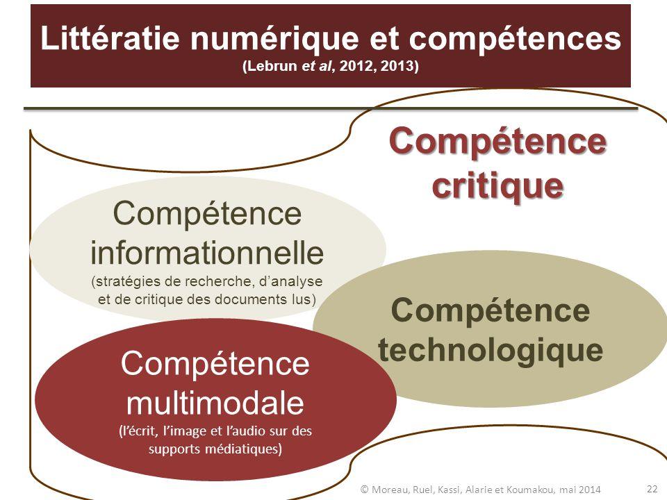 Compétence informationnelle (stratégies de recherche, danalyse et de critique des documents lus) Compétence technologique Compétence multimodale (lécr
