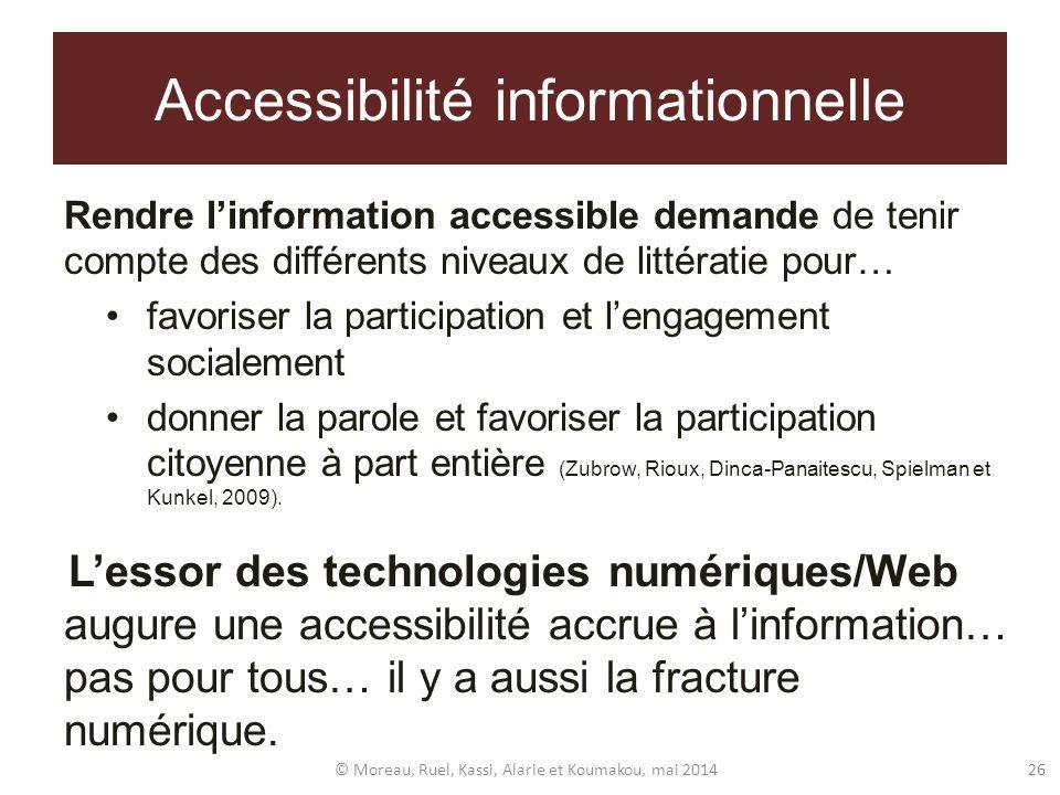 Accessibilité informationnelle Rendre linformation accessible demande de tenir compte des différents niveaux de littératie pour… favoriser la particip