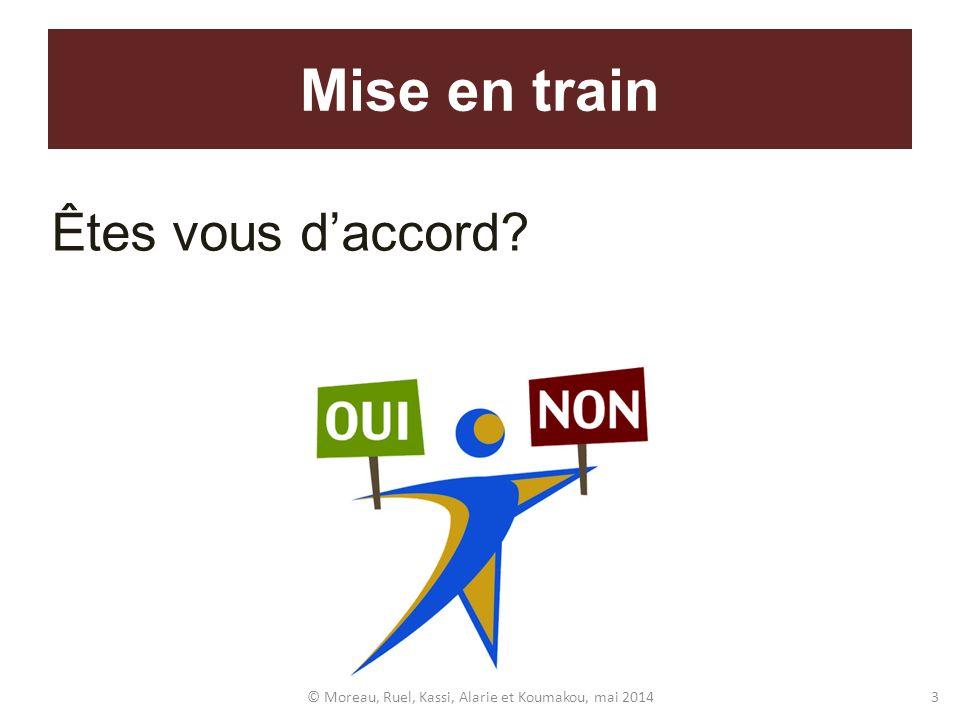 Êtes vous daccord? Mise en train © Moreau, Ruel, Kassi, Alarie et Koumakou, mai 20143